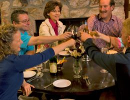 Stockyards guests toasting in the Cattleman's Room