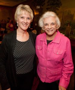 Former Chief Justice Ruth McGregor (left), (law clerk to Justice O'Connor in 1981-1982) with Sandra Day O'Connor at the Stockyards.