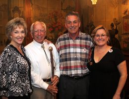 Sherry Henry, Director of the Arizona Department of Tourism, Former Phoenix Mayor John D. Driggs, Gary Lasko, co-owner of the Stockyards, Arizona's Original Steakhouse and Karen Churchard, Director of the Arizona Centennial Commission celebrating in the Rose Room after the plaque dedication.